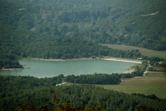Lake. Pure turquoise lake in the mountains of Krasnodar region summer landscape nature royalty free stock images