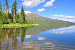 Lake in the Putorana plateau. Royalty Free Stock Photos