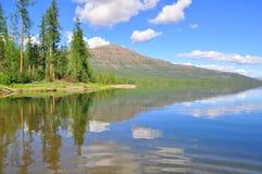 Lake in the Putorana plateau. Royalty Free Stock Photos