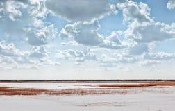 Lake Among Quartz Sand Under Beautiful Cloudy Sky Royalty Free Stock Photography