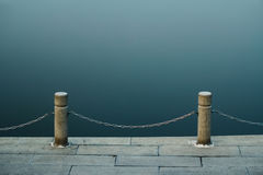 Lake and railings. In the park Royalty Free Stock Image
