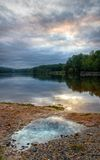 Lake After Rain. A view from the shoreline of Hopewell Lake, French Creek State Park, Pennsylvania (USA) after a rain storm stock image