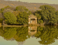 Lake in Ranthambore National Park. Reflections of abandoned building and trees on lake in Ranthambore National Park in the region of Rajasthan in Northern India royalty free stock images