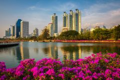 Lake Ratchada situated in the Benjakitti Park in Bangkok, Thailand Royalty Free Stock Photo
