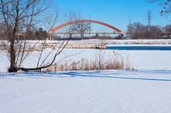 Lake Rebecca Park and Bridges in Hastings. Snowy lake rebecca park and bridges spanning mississippi river in hastings minnesota Stock Photo