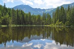Lake reflecting forest and mountains under cloudy sky stock image