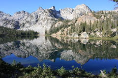 Lake reflection. Reflection morning, Alice Lake in Sawtooth Wilderness, Idaho, USA Stock Photography