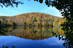Lake reflection in Autumn atop a Vermont Mountain. Lake reflecting trees and sky in Autumn atop a Vermont Mountain Stock Photography