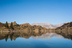 Lake Reflection. On a beautiful spring day, in the Swiss Alps. Trubsee / Titlis, Switzerland royalty free stock images