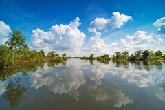 Lake With Reflection Clouds royalty free stock image