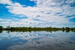 Lake With Reflection Clouds stock image
