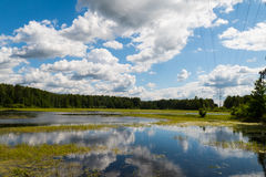 Lake with reflection of clouds. 2015 pond stock images