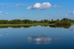 Lake reflection clouds sky trees Royalty Free Stock Image