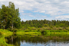 Lake with reflection and forest landscape. 2015 royalty free stock photo