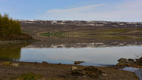 Lake and reflection of hills in Iceland Stock Photography