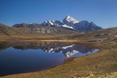 Lake with reflection of Huayna Potosi Stock Images