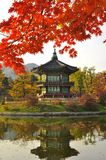 Korean Pagoda , Gyeongbokgung Palace Grounds. Lake and reflection of a Korean Pagoda at Gyeongbokgung Palace Grounds, Seoul, South Korea with autumn foliage Stock Photos