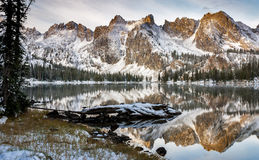 Lake reflection of mountains and log winter Stock Photography
