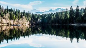 Lake Reflection Mountains Spring Timelapse 4k. Timelapse of a lake in the Swiss mountains stock footage