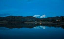 Lake Reflection at Night Stock Image