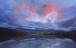 Lake reflection with Sierra Salvada mountains Stock Images
