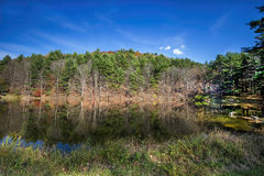 Lake Reflections. Autumn reflections near Huntersland in Schoharie County, New York Stock Images