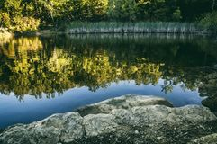 Lake with reflections royalty free stock photo