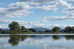 Lake, reflections, clouds, landscape Royalty Free Stock Photography