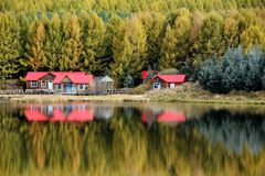 Lake reflections in fall. Forest and red houses reflections on lake in fall stock photography