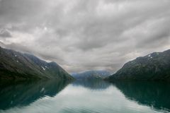 Lake reflections landscape in europe. Norwegian nature landscape at summer tourism trip Royalty Free Stock Photography