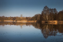 Lake with reflections in sunlight Stock Image