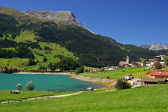 Lake Reschensee in South Tyrol stock photos