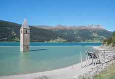 Lake Reschensee,south Tyrol,Italy Royalty Free Stock Photo