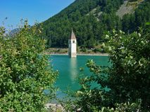 Lake Resia bell tower Royalty Free Stock Images