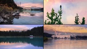 Lake Resort Montage. Beautiful scenes of mountain lake and hotel on the shore stock video