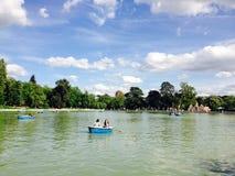 Lake in Retiro Park Madrid Spain Stock Photo