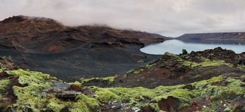 Lake in Reykjanes - panorama with green moss Royalty Free Stock Photo