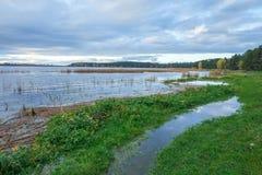 Lake in Riga, district Jugla. Autumn, yellow tree leaves, lake, Stock Photography