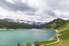Lake of Ritom and the dam in Ticino, Switzerland Royalty Free Stock Image