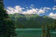 Lake Ritsa in Abkhazia. Lake Ritsa, the biggest high-mountainous lake in Abkhazia, Caucasus stock photo