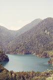 Lake Ritsa and the Caucasus mountains in Abkhazia.  Stock Image