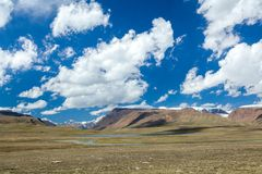 Lake and river Arabel-Suu in Kirghizia Royalty Free Stock Photo