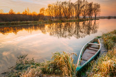 Lake, River And Old Wooden Blue Rowing Fishing Boat At Beautiful Royalty Free Stock Photography