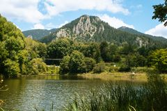Lake and Rock mountains with green pines and trees with grass in front in Bulgaria royalty free stock photo