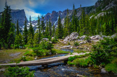 Lake in Rocky mountains Royalty Free Stock Images