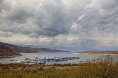 Lake Roosevelt Marina On A Stormy Day Royalty Free Stock Image