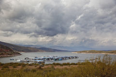 Lake Roosevelt Marina on a Stormy Day Royalty Free Stock Image