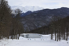 Lake in Rosa Khutor Alpine Resort Stock Photos