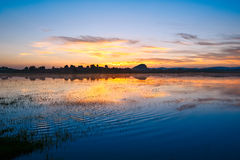 The lake rosy dawn Stock Photography