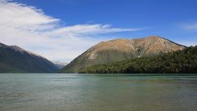 Lake Rotoiti and Mt Robert. Summer scene on the South Island, New Zealand. Lake Rotoiti and Mt Robert Stock Photos